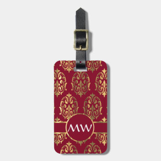 Red and gold damask luggage tags