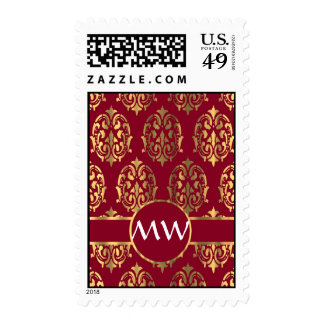 Red and gold damask monogram pattern postage stamps