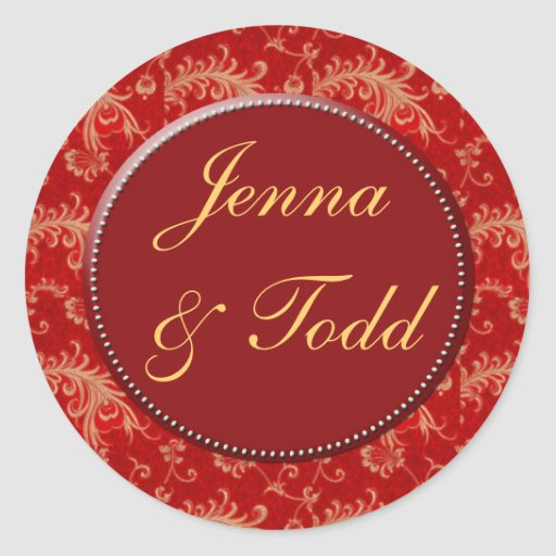 Red and gold damask wedding stickers