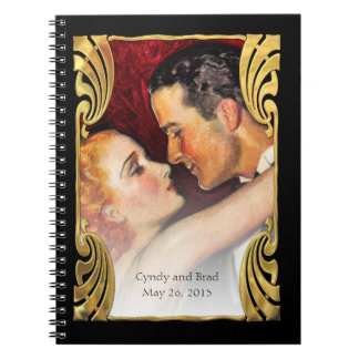 Red and Gold Deco Frame RSVP Tracker Notebook