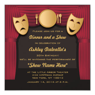 """Red and Gold Dinner Theater Party Invitations 5.25"""" Square Invitation Card"""
