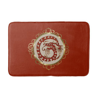 Red and Gold Dragon Medallion Bath Mat