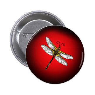 Red and Gold Dragonfly Pinback Buttons