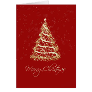 Red and Gold Elegant Christmas Tree Card