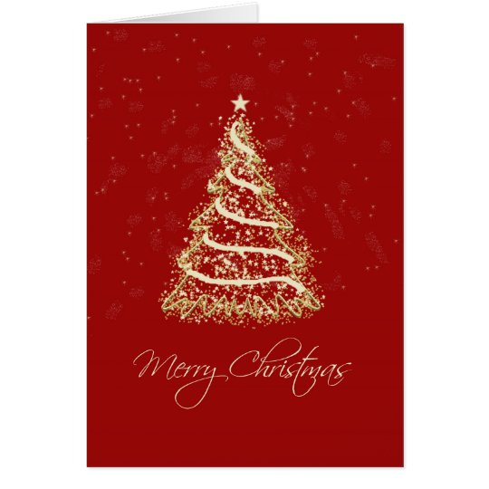 Red And Gold Christmas Trees: Red And Gold Elegant Christmas Tree Card