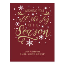 Red and Gold Elegant Modern Business holiday Postcard