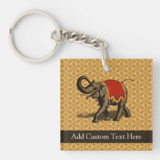 Red and Gold Elephant Double-Sided Square Acrylic Keychain