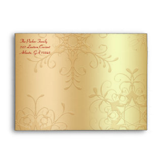 "Red and Gold Envelope for 5""x7"" Sizes"
