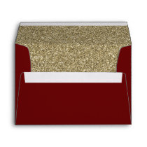 red and Gold FAUX glitter Envelope