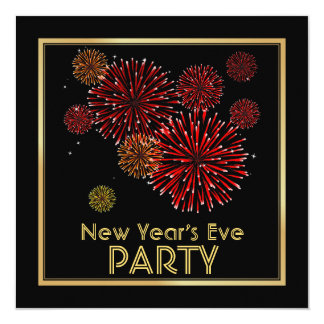 Red and Gold Fireworks New Years Party Invitations