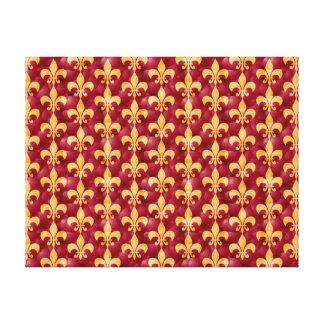 Red And Gold Fleur-De-Les Canvas Print
