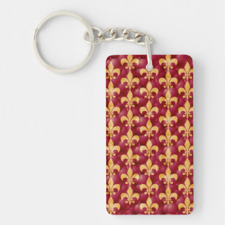 Red And Gold Fleur-De-Les Single-Sided Rectangular Acrylic Keychain