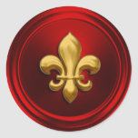 Red and Gold Fleur de Lis Envelope Seal Round Stickers