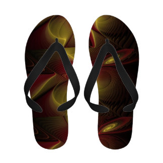 Red and Gold Flip Flops