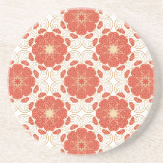 Red And Gold Floral Lace Pattern Beverage Coaster
