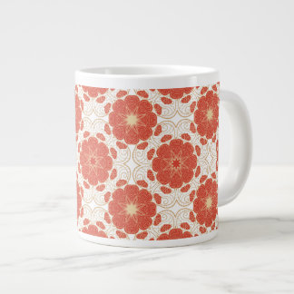 Red And Gold Floral Lace Pattern Giant Coffee Mug