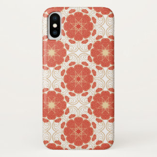 Red And Gold Floral Lace Pattern iPhone X Case