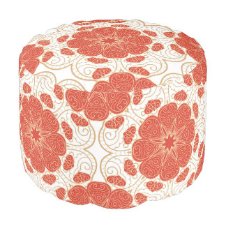 Red And Gold Floral Lace Pattern Round Pouf