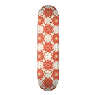 Red And Gold Floral Lace Pattern Skateboard