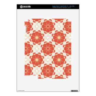 Red And Gold Floral Lace Pattern iPad 3 Skin