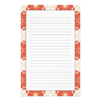 Red And Gold Floral Lace Pattern Stationery