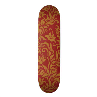 Red and Gold Floral Pattern Skateboard Deck