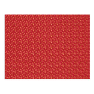 Red and Gold Floral Pattern Texture Design Postcard