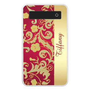 Red and Gold Floral Power Bank