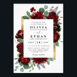 """Red and Gold Floral Rustic Elegant White Wedding Invitation<br><div class=""""desc"""">Design features watercolor peony and rose floral elements in shades of red and burgundy over eucalyptus botanical greenery. Template also features a printed gold colored box for an added elegant layout. The typography displays a modern layout with black text. View the collection link on this page to find matching products...</div>"""