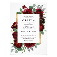 Red And Gold Floral Rustic Elegant White Wedding Invitation at Zazzle