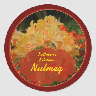 Red and Gold floral spice jar labels