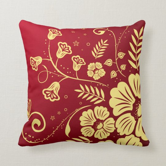 Red and Gold Floral Throw Pillow