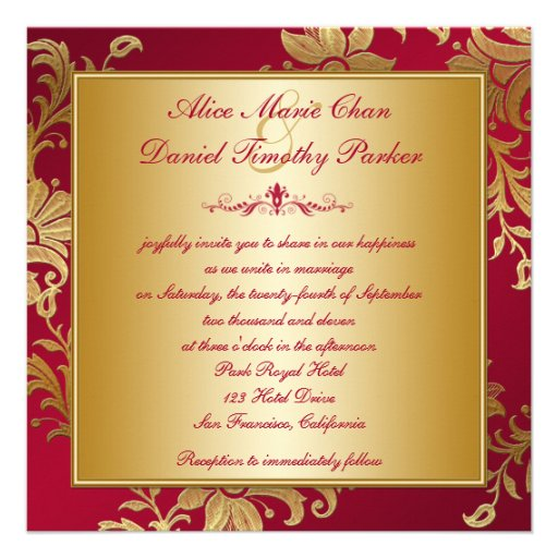 Red and Gold Floral Wedding Invitation (back side)