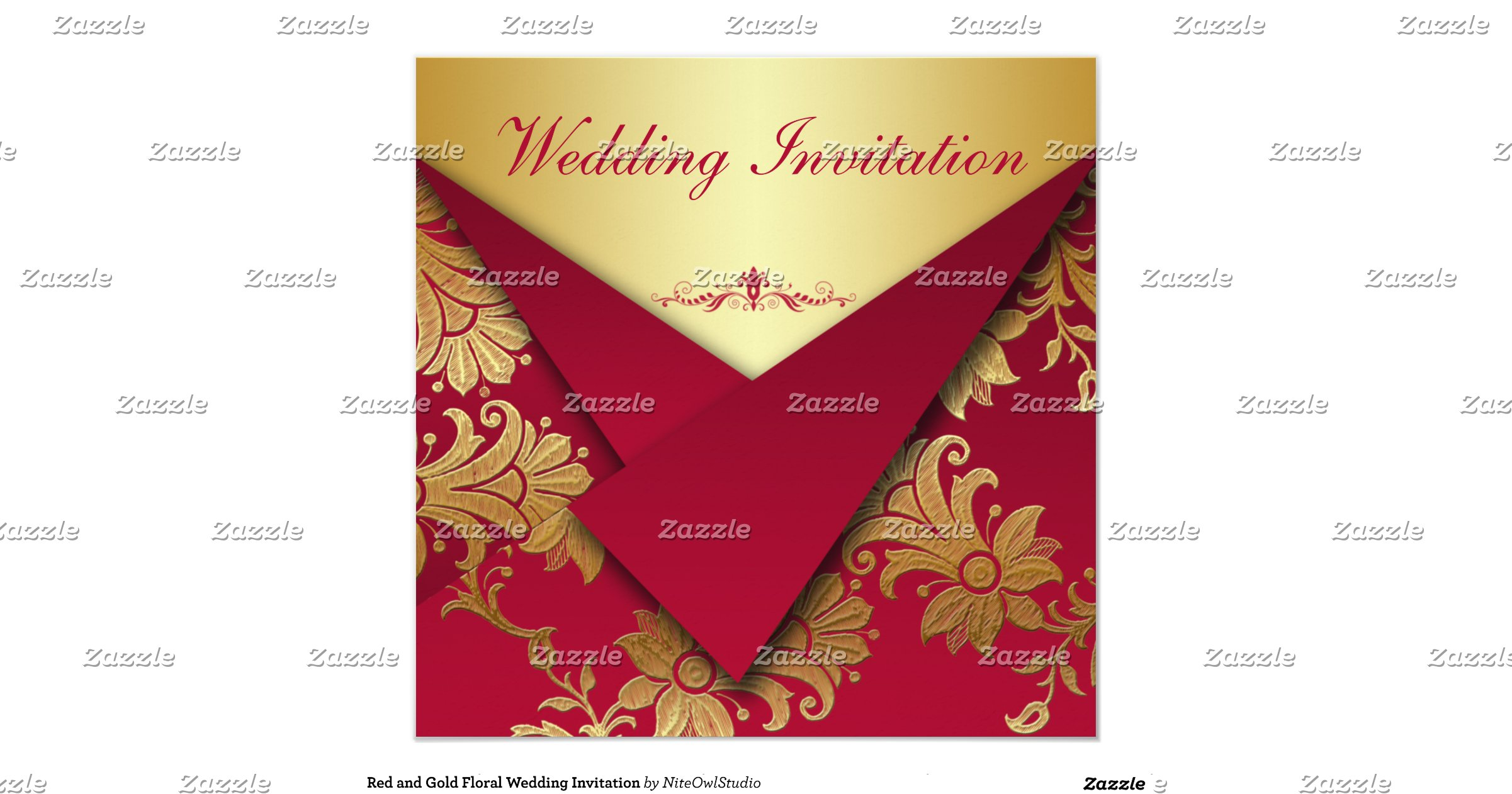 Red And Gold Wedding Invitations On Zazzle