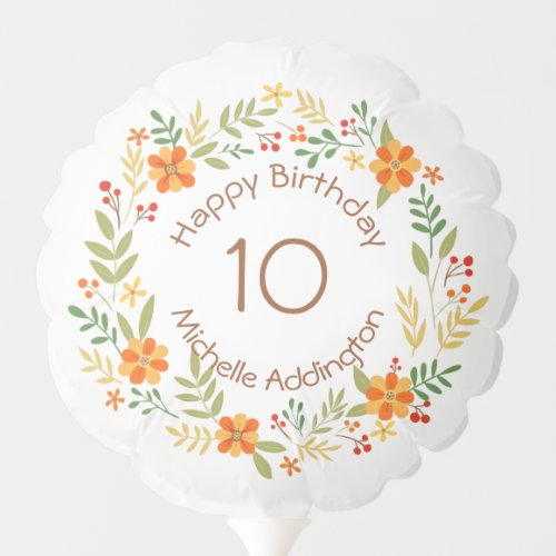 Red and gold, floral wreath kids Birthday Balloon