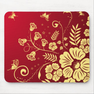 Red and Gold Flowers Mouse Pad