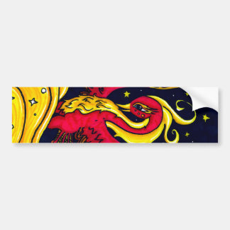 Red and Gold flying phoenix Bumper Sticker