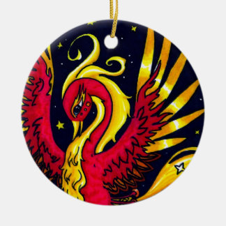 Red and Gold flying phoenix Double-Sided Ceramic Round Christmas Ornament