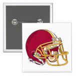 red and gold football helmet vector graphic 2 inch square button