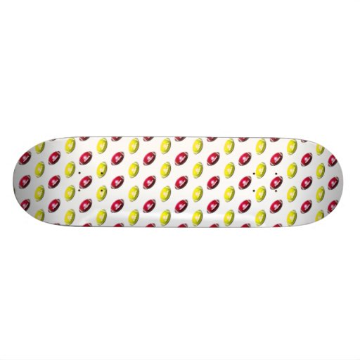 Red and Gold Football Pattern Skate Deck