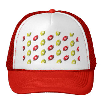Red and Gold Football Pattern Trucker Hat