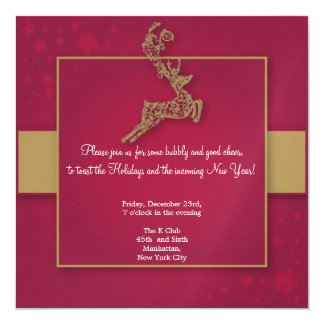 Red and Gold Formal Reindeer Christmas invitation