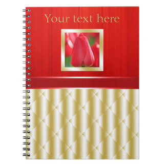 Red and Gold Glam Small Spiral Notebook