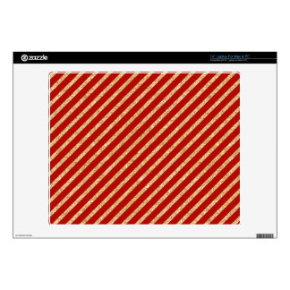 "Red and Gold Glitter Diagonal Stripes Pattern Decal For 14"" Laptop"