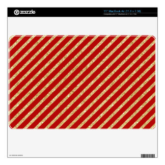 Red and Gold Glitter Diagonal Stripes Pattern Decals For MacBook