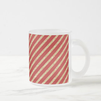 Red and Gold Glitter Diagonal Stripes Pattern Frosted Glass Coffee Mug