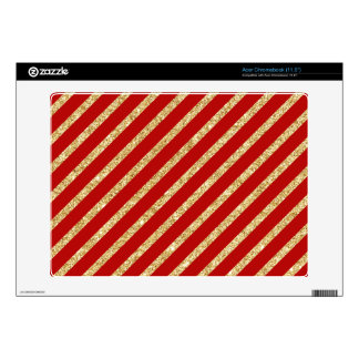 Red and Gold Glitter Diagonal Stripes Pattern Skins For Acer Chromebook