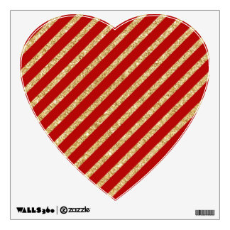 Red and Gold Glitter Diagonal Stripes Pattern Wall Decal