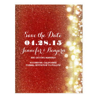 red and gold glitter string lights save the date postcard