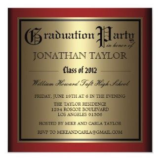 Red and Gold Graduation Card
